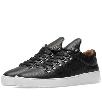 huge discount 693a7 b6274 Men s Black Crocodile-effect Leather Sneakers  Filling Pieces Mountain Cut  Ripple Lane Grain Sneaker .
