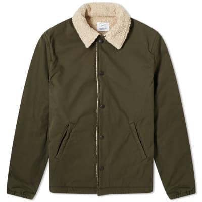 Save Khaki Sherpa Lined Warm Up Jacket