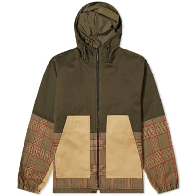 Barena Panelled Check Hooded Jacket