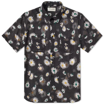 Saint Laurent Short Sleeve Flower Shirt