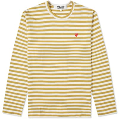fb797403030d Comme des Garcons Play Little Red Heart Long Sleeve Stripe Tee ...