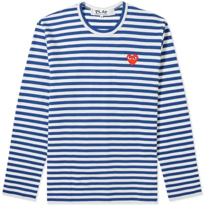 8dec5b1440c7 Comme des Garcons Play Long Sleeve Heart Stripe Logo Tee ...