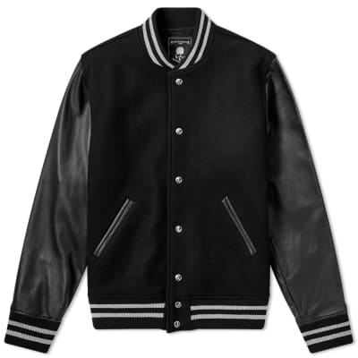 MASTERMIND WORLD Leather & Cashmere Varsity Jacket