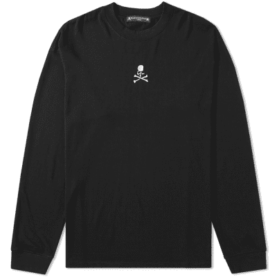 MASTERMIND WORLD Long Sleeve Skull Embroidered Chest Logo Tee
