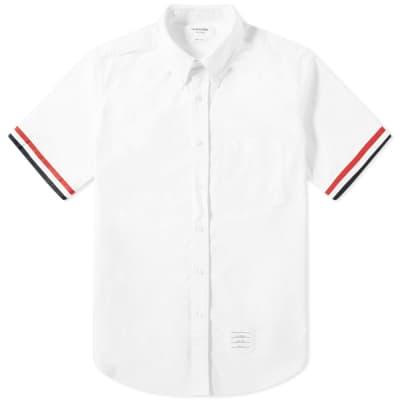 2a0f73a1e1cf Thom Browne Short Sleeve Grosgrain Cuff Shirt ...