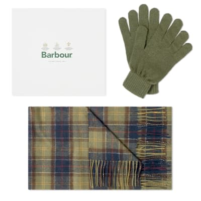 Barbour Scarf & Glove Gift Box