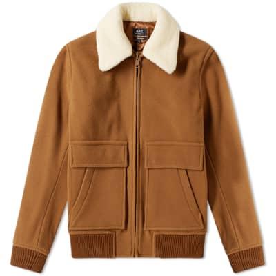 A.P.C.Bronze Shearling Wool Jacket