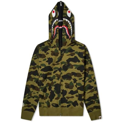 A Bathing Ape 1st Camo Shark Zip Double Hoody