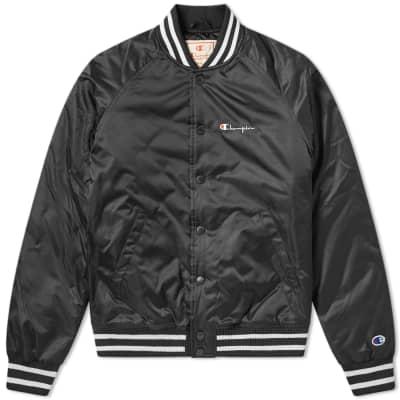 841820d19e6 Champion Reverse Weave Script Logo Satin Bomber Jacket ...