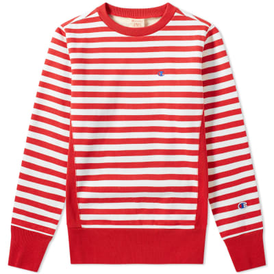 1cc679cfe723 Champion Reverse Weave Stripe Crew Sweat ...