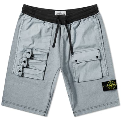 c07cec2464a55 Stone Island Tela Plated Chalk Pocket Shorts ...