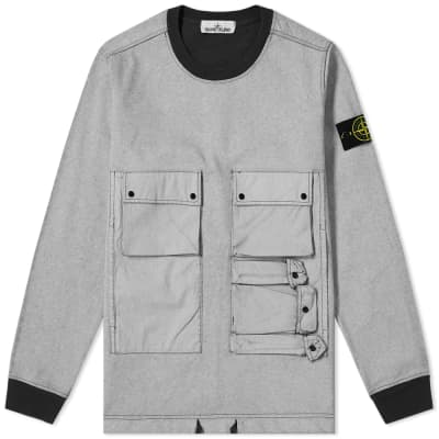 cd0df59dcf380 Stone Island Tela Plated Chalk Pocket Sweat ...