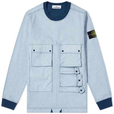 24262ef55aaf Stone Island Tela Plated Chalk Pocket Sweat ...
