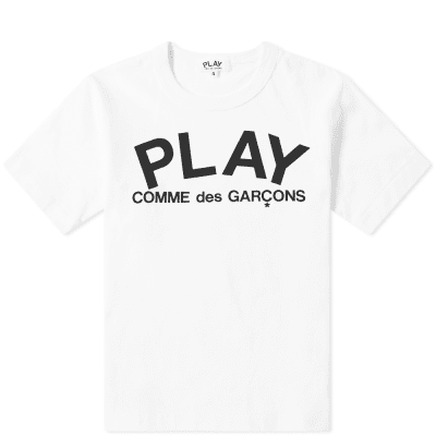 Comme des Garcons Play Kids Logo Text Tee
