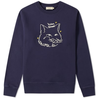 b4abe4d0a39 Maison Kitsuné Ancora Tu Embroidered Fox Crew Sweat ...
