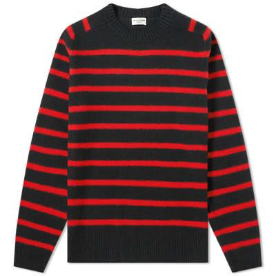 Saint Laurent Wool Felt Stripe Crew Knit
