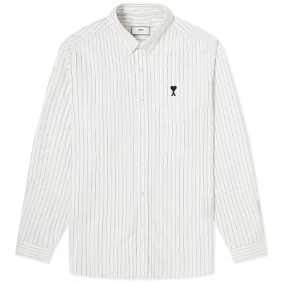AMI Button Down A Heart Stripe Shirt