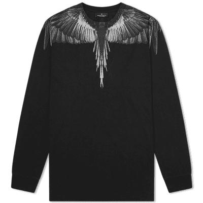 Marcelo Burlon Long Sleeve Black Wings Shoulder Tee
