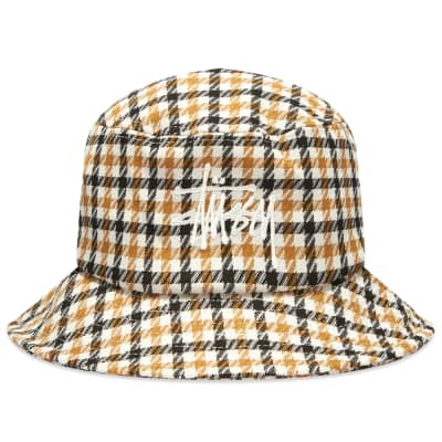 Stussy Big Logo Plaid Check Bucket Hat