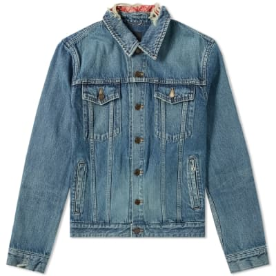 26f476551bef Saint Laurent Damaged Bandana Denim Jacket ...