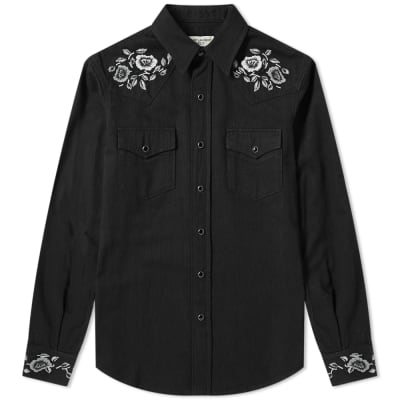 5ca47da99708 Saint Laurent Floral Embroidered Western Shirt ...