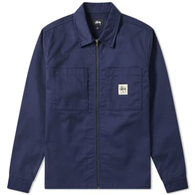 Stussy Poly Cotton Zip Up Shirt ... 37f9bc301