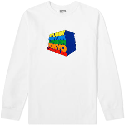 efdc9f3303238 Stussy Long Sleeve Stacked Up Pigment Dyed Tee ...
