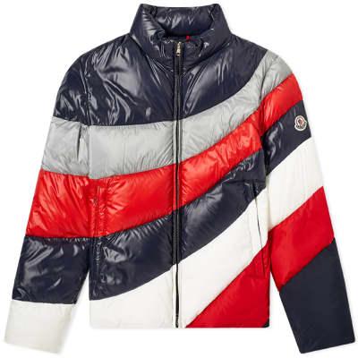 Moncler Argento Panel Stripe Down Jacket