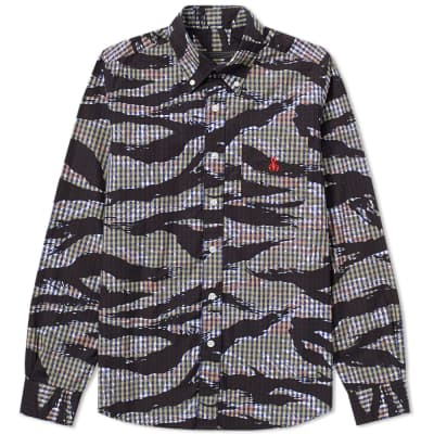 SOPHNET. Tiger Camouflage Print Button Down Shirt