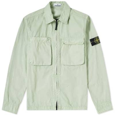 Stone Island Tela Smerigliata Garment Dyed Zip Overshirt