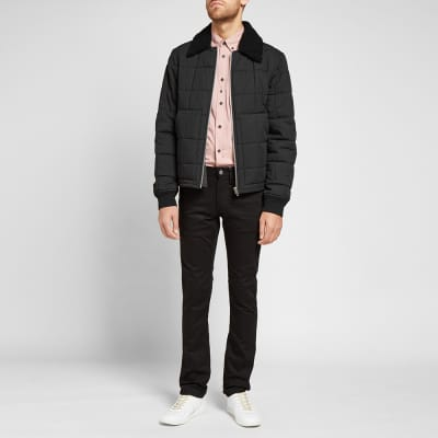 Helmut Lang Fur Collar Quilted Bomber Jacket