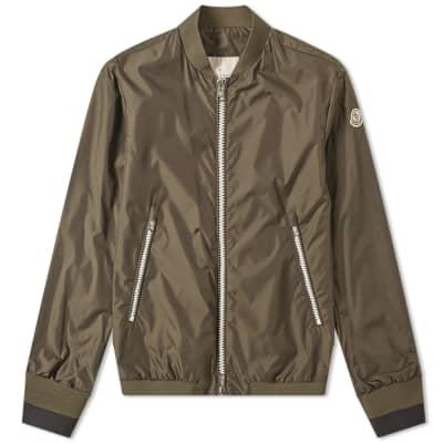 23ac71008bef Moncler Normandin Contrast Logo Zip Bomber Jacket ...