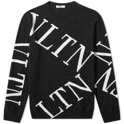 80c00728ac7 Valentino Large VLTN Grid Intarsia Knit ...
