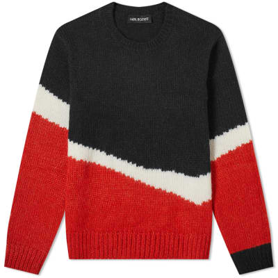 Neil Barrett Mohair Mix Stripe Panel Knit
