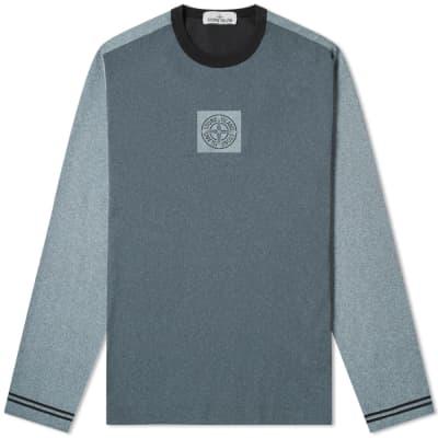 0a1c56b4eb08 Stone Island Long Sleeve Tela Plated Chalk Logo Tee ...