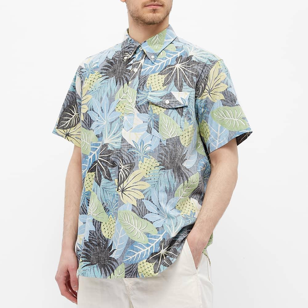 Engineered Garments Short Sleeve Hawaiian Popover Button Down Shirt - Black & Blue