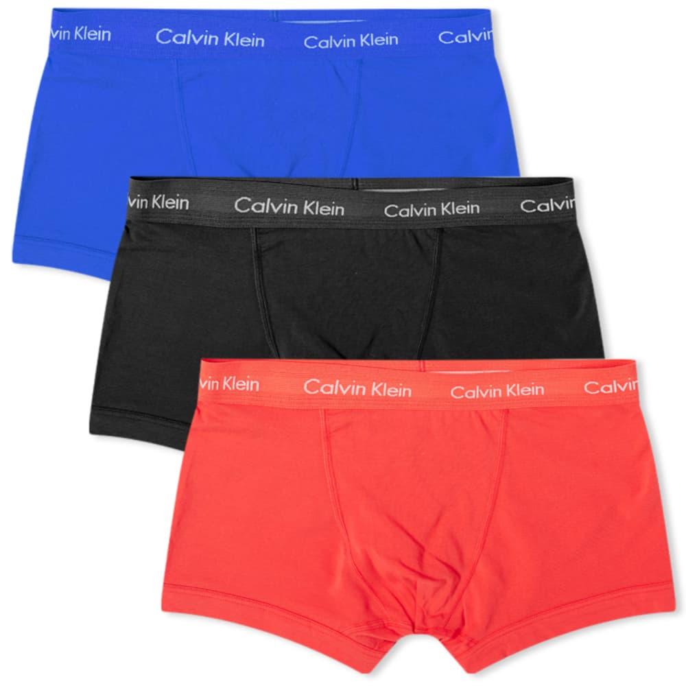 Calvin Klein Cotton Stretch Trunk - 3 Pack - Blue, Strawberry & Black