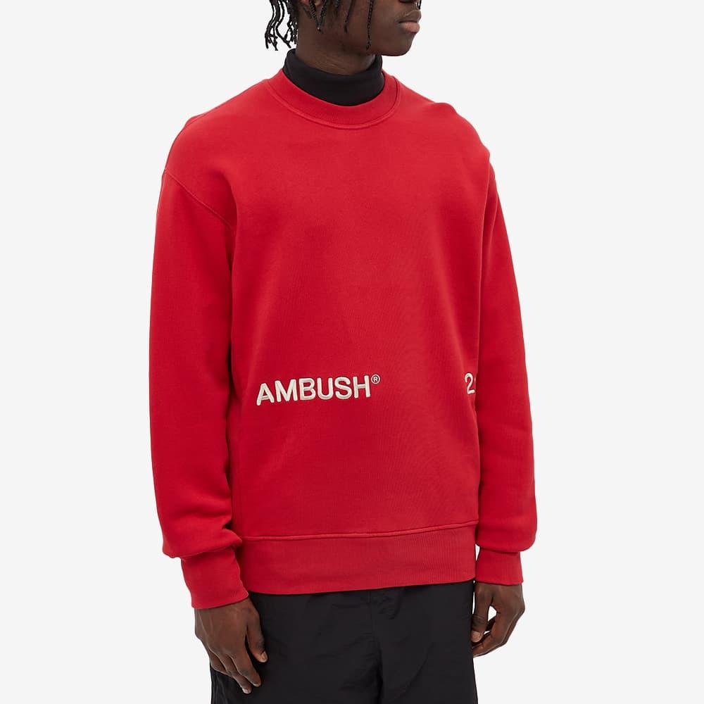 Ambush Inserts Logo Crew Sweat - Red & Off White