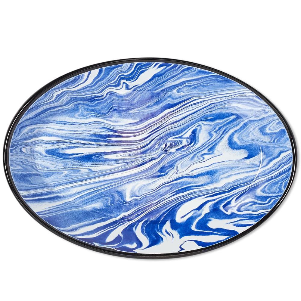 BORNN Enamelware Classic Marble Pie Plate - Blue