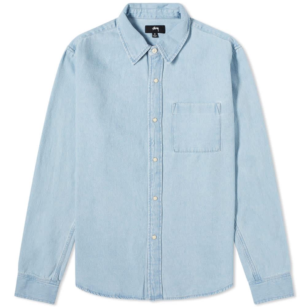 Stussy Flower Denim Shirt - Light Blue