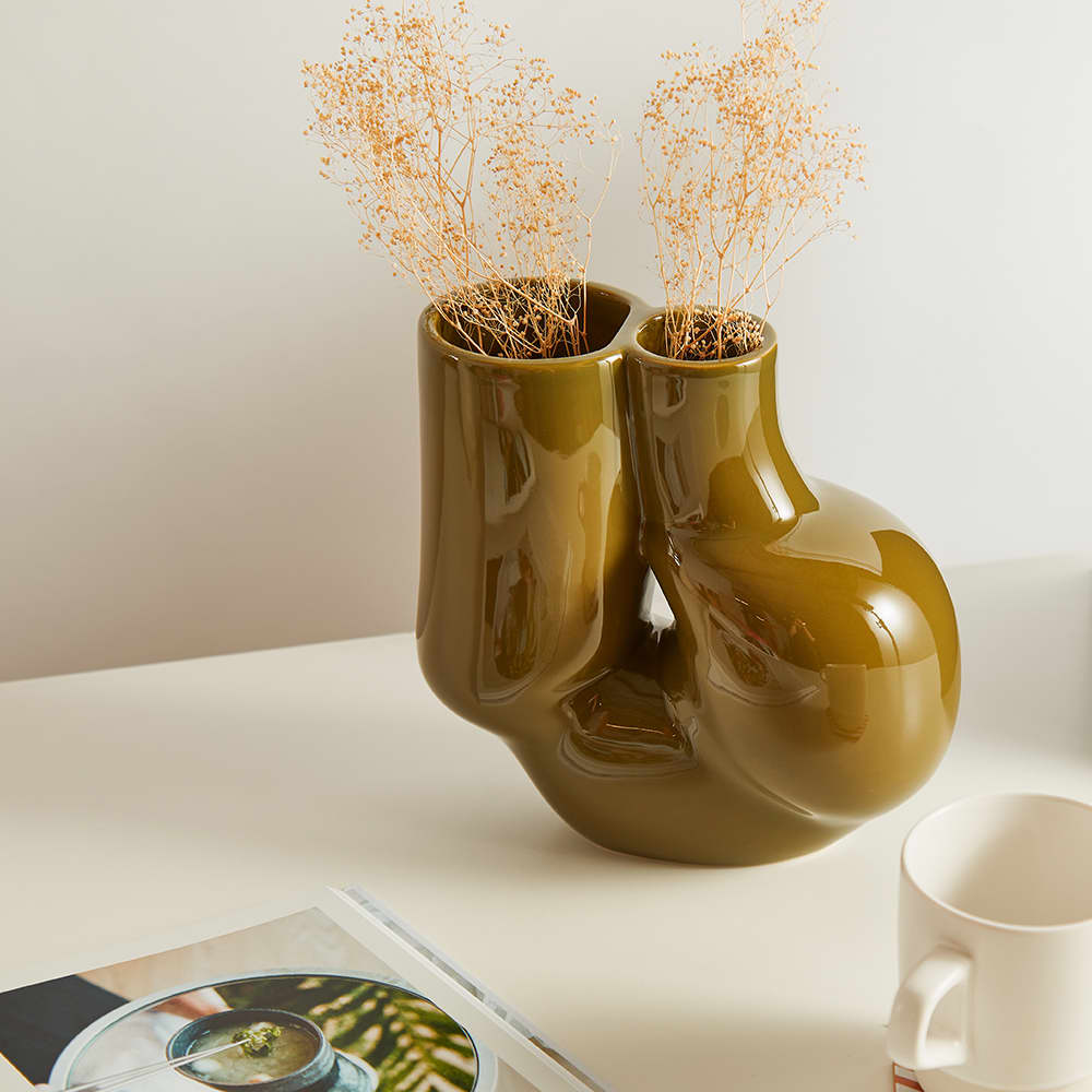 HAY W&S Chubby Vase - Olive Green