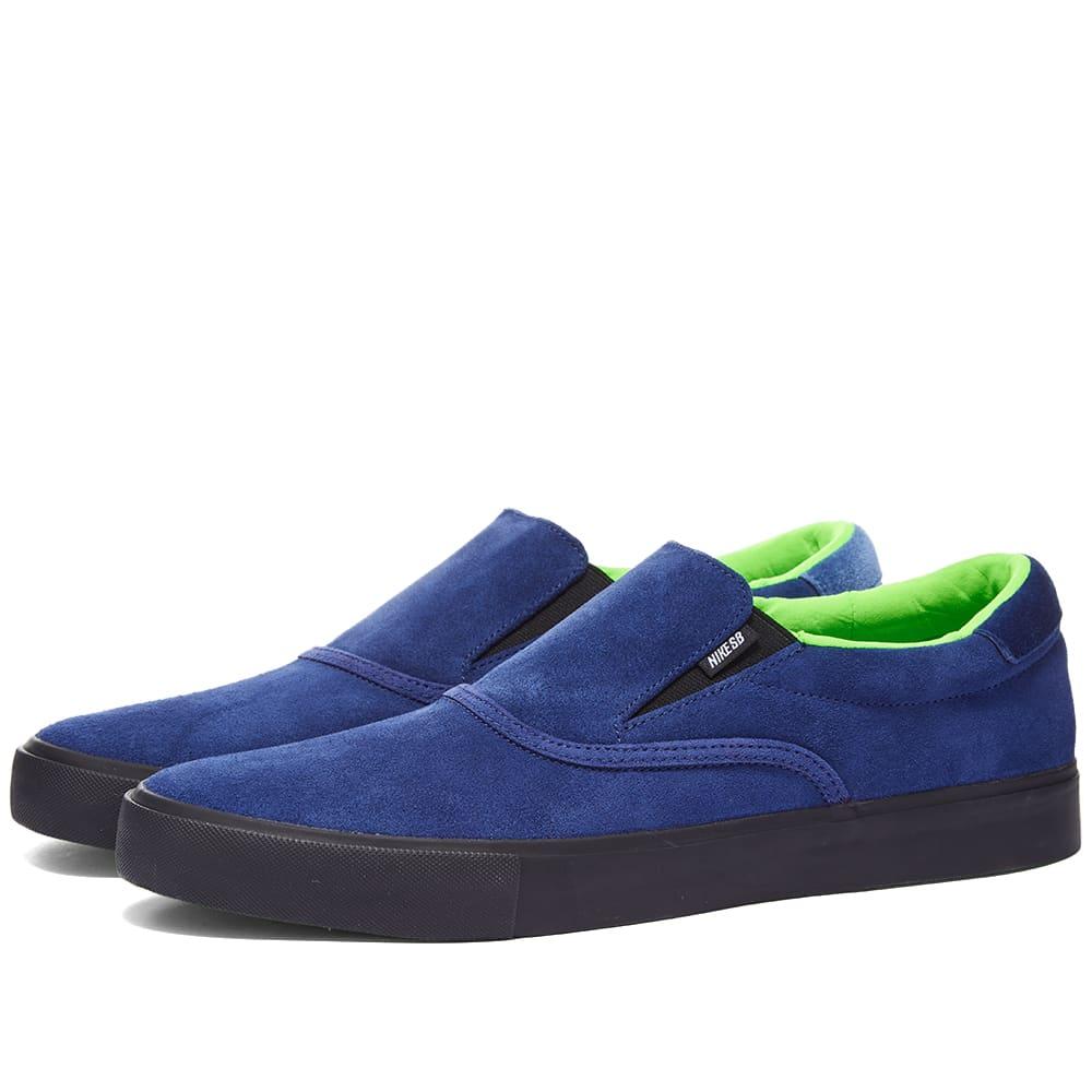Nike SB Zoom Verona Slip Glue Skateboards - Blue, Black, Green & White