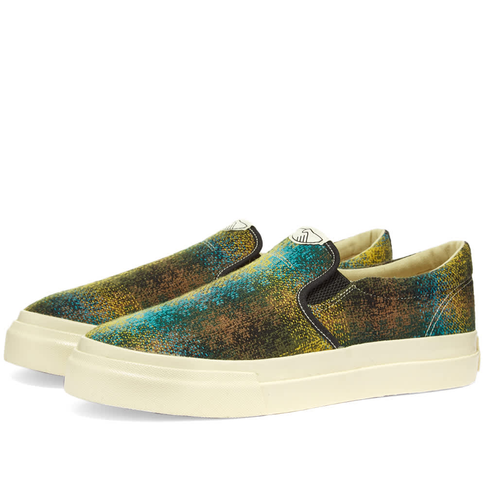 Stepney Workers Club Lister Wool Check Slip-On - Moss