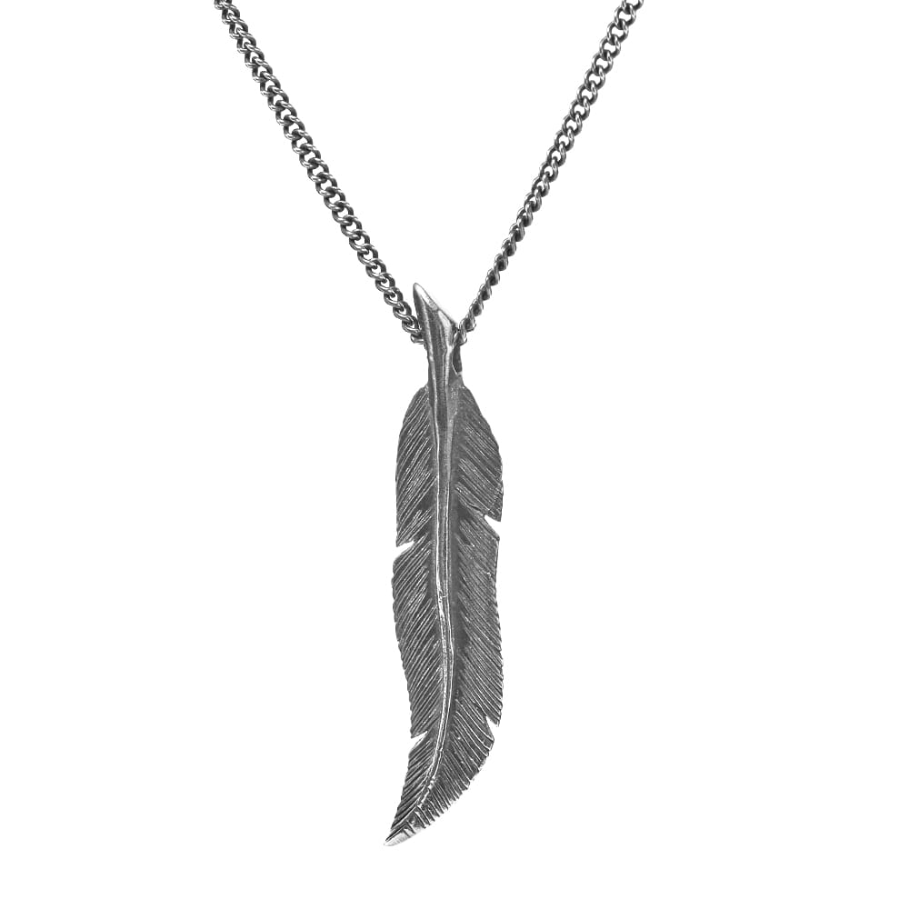 M. Cohen Scribe's Quill Feather & Chain Pendant Necklace - Silver