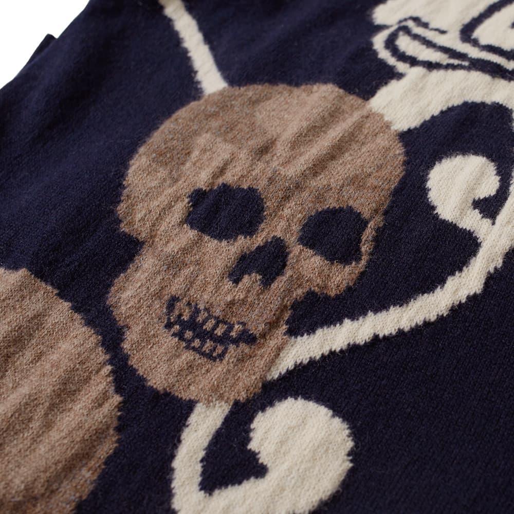 Alexander McQueen Skull Intarsia Crew Knit - Navy