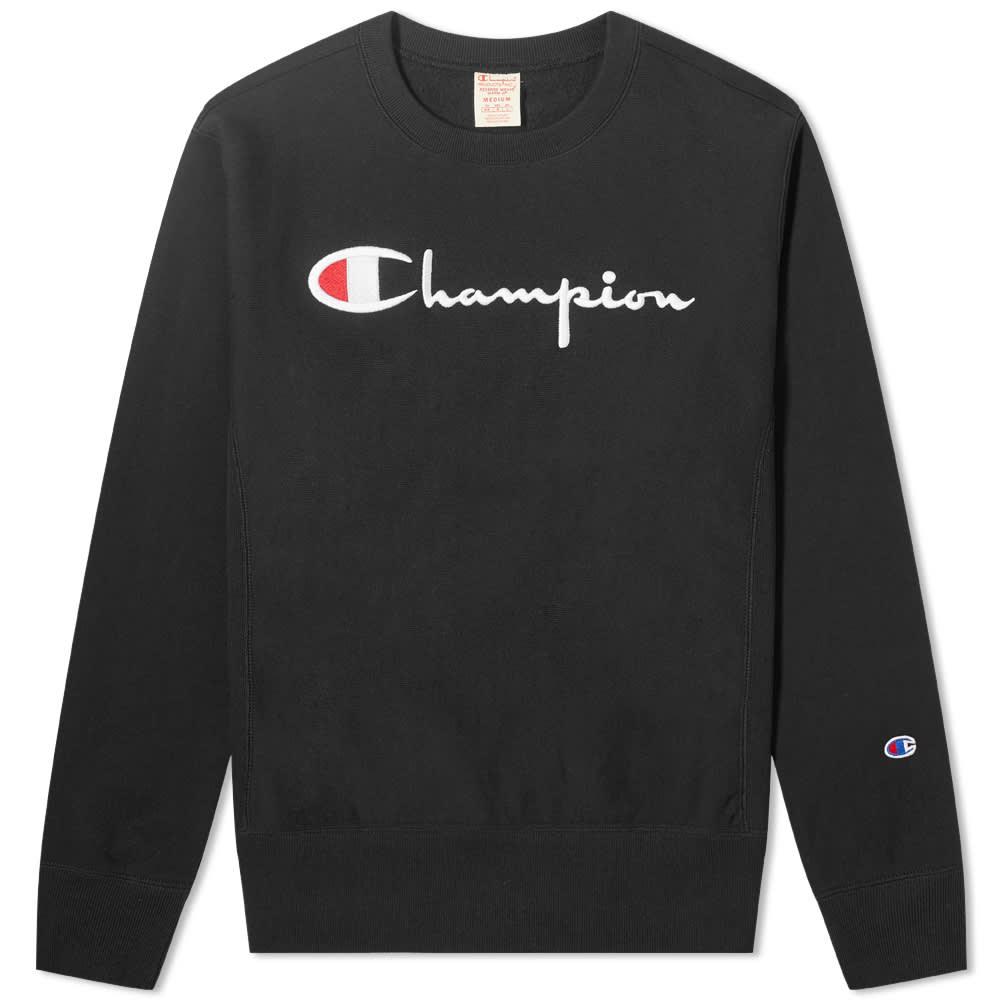 Champion Reverse Weave Women's Large Script Logo Crew Sweat - Black