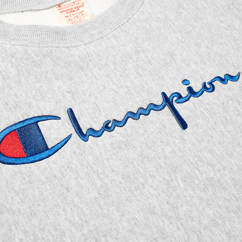 Champion Reverse Weave Women's Large Script Logo Crew Sweat - Grey Marl