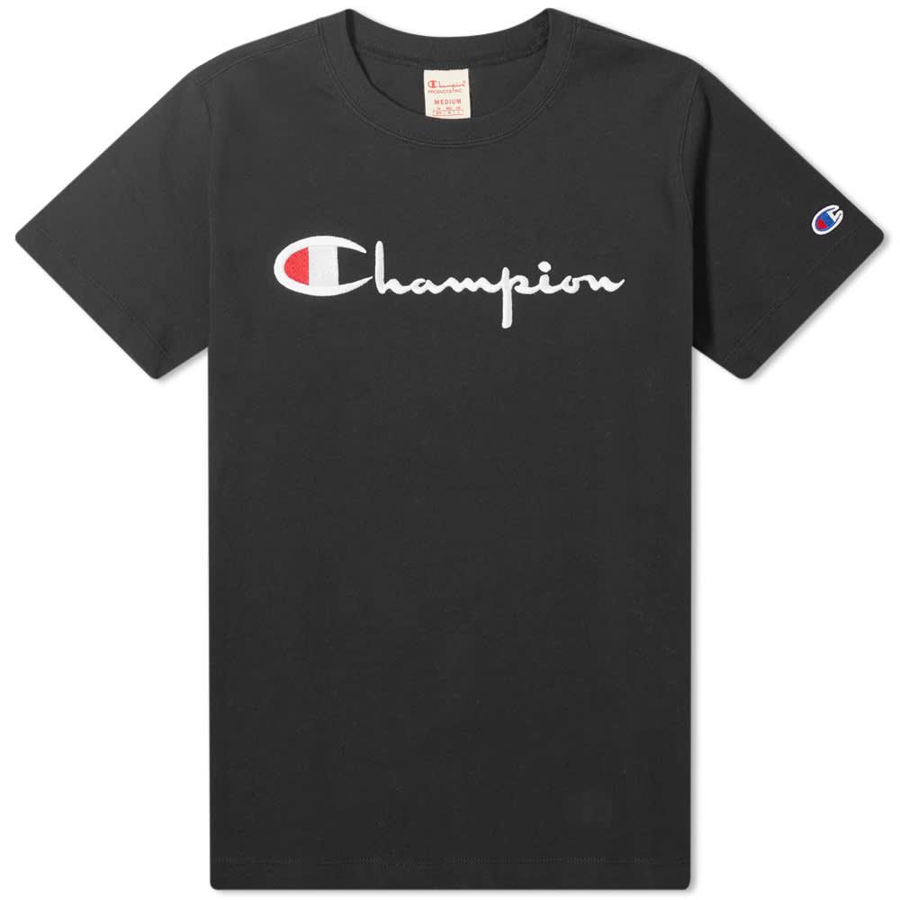 Champion Reverse Weave Women's Large Script Logo Tee - Black