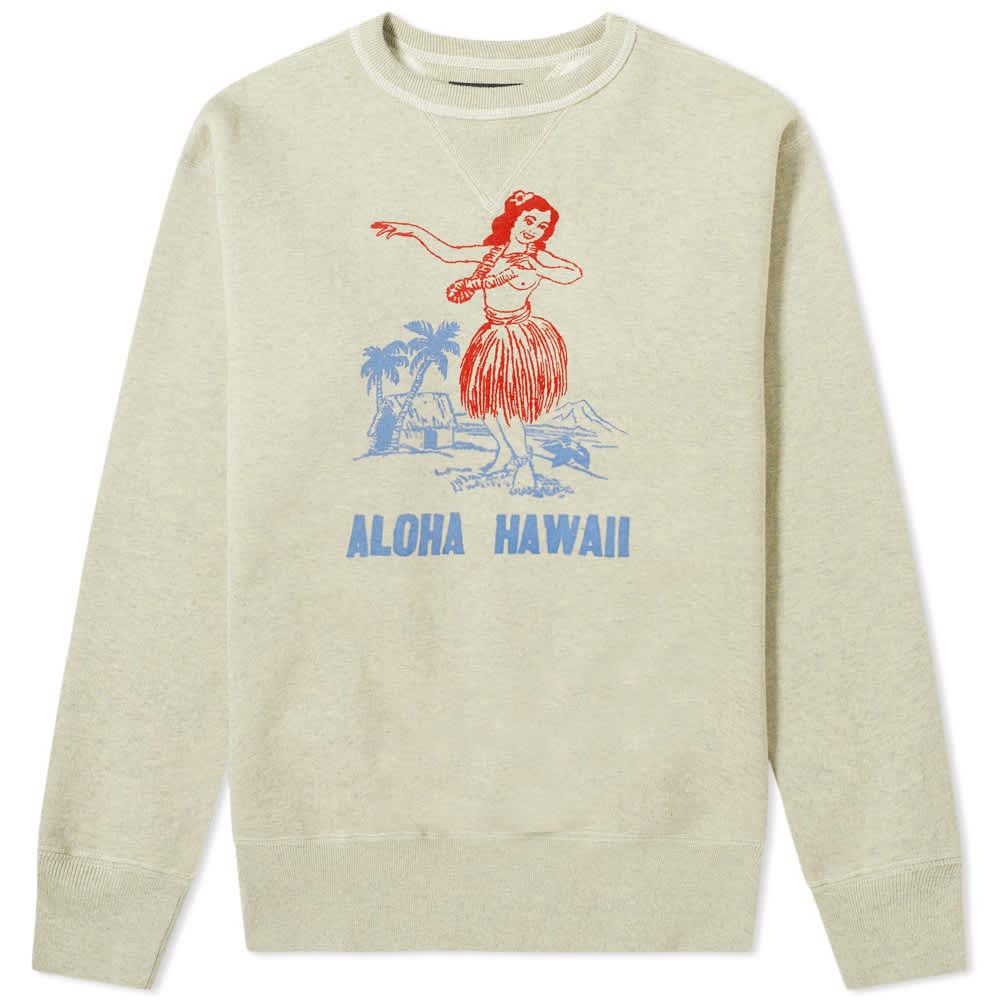 The Real McCoy's Aloha Hawaii Crew Sweat - Oatmeal