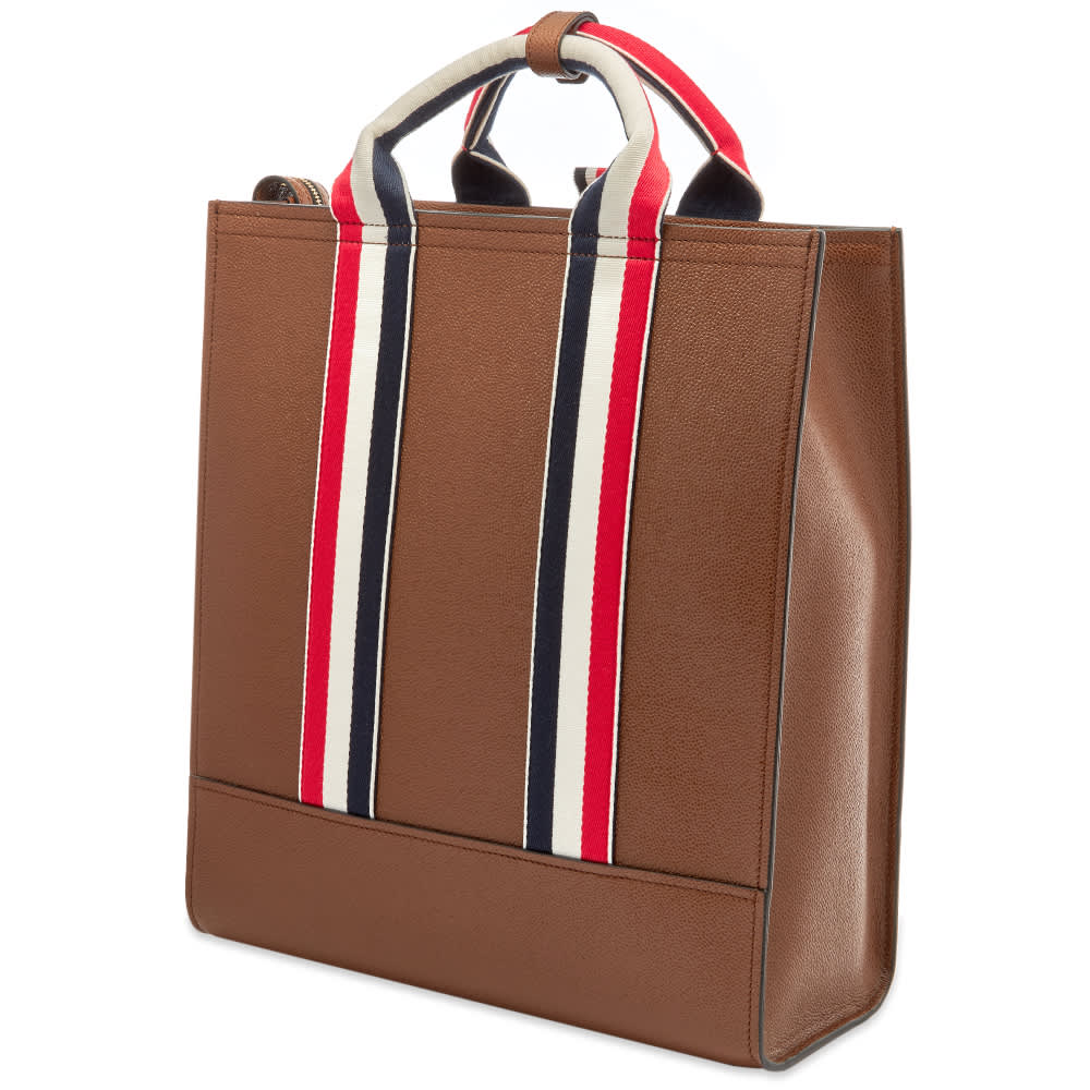 Thom Browne Pebble Grain Leather Lined Tote - Brown
